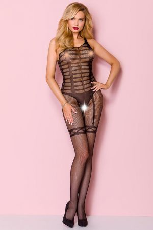 SEXY FAUX GARTER CROTCHLESS BODYSTOCKING BLACK