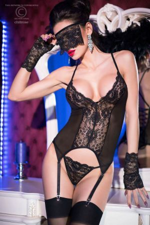 BLACK LACE BUSTIER WITH MASK & GLOVES