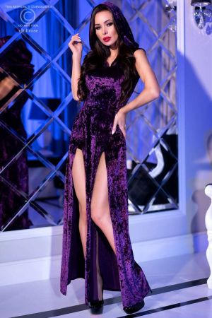 HOODED GOWN PURPLE