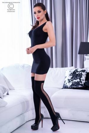 TIGHT SLIT MINI WITH STOCKINGS