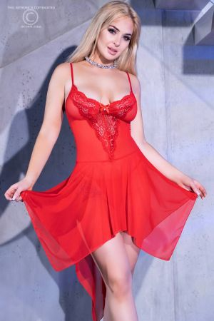JEWELED BABYDOLL RED
