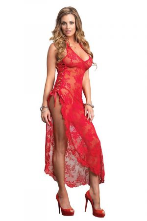 ROSE LACE HIGH SLIT GOWN RED