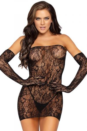 DOTTED LACE CHEMISE WITH GLOVES
