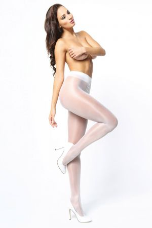 SHINY OPEN CROTCH PANTYHOSE WHITE