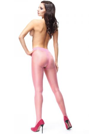SHINY OPEN CROTCH PANTYHOSE PINK