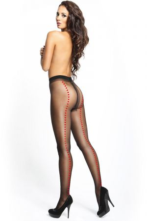 SHINY OPEN CROTCH HEART PANTYHOSE BLACK