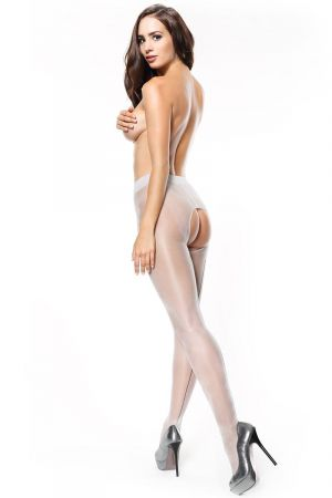 SHINY LINED OPEN CROTCH PANTYHOSE WHITE SILVER