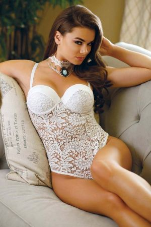 PUSH UP CUP LACE TEDDY WHITE