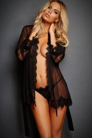 Eyelash Lace Robe Black