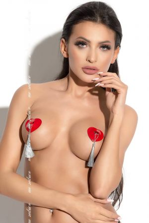 SILVER TASSEL NIPPLE COVER RED